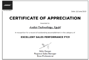 Bose Professional excellent award FY21
